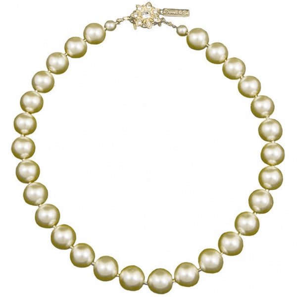 Cream Pearl Necklace with Swarovski Crystal Flower.