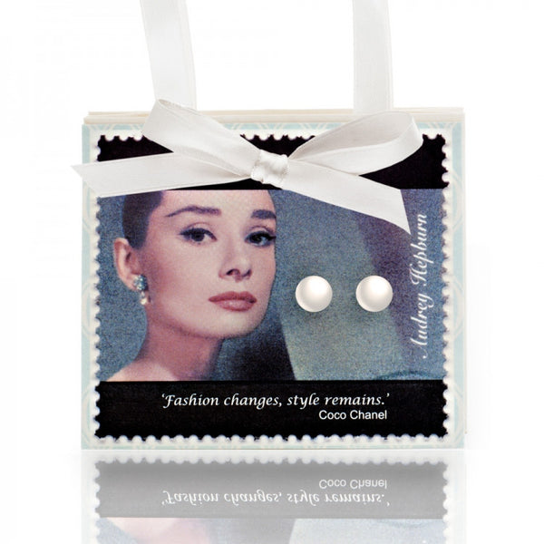 Audrey Hepburn Postcard with Pearl Earrings
