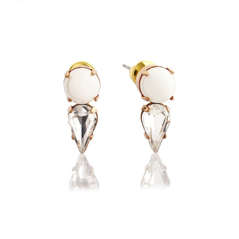 Pearl and Crystal Teardrop Stud