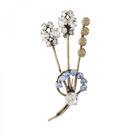 1950's inspired Corsage Brooch, Blue Opal