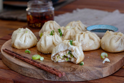 Sheng Jian Bao: Pan Fried and Steamed Chicken Buns