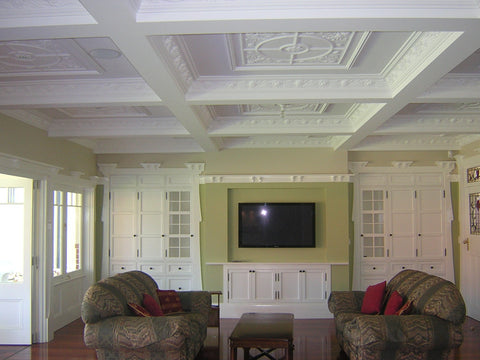 Panels SC163 used in a boxed style ceiling with cornice SC54A