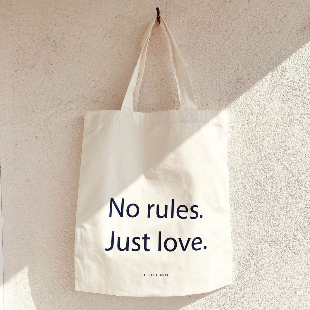 Baumwolltasche - No rules. Just love - off-white