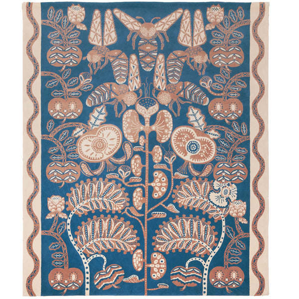 Bees rug Blue