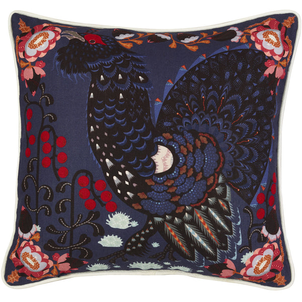 Grouse in the woods blue cushion