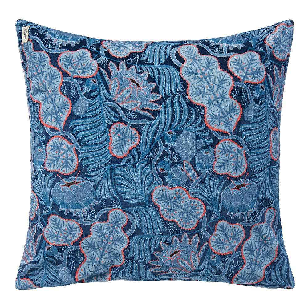 Iceflower Blue velvet cushion