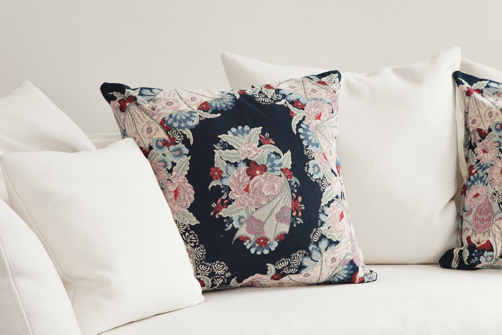 Tapestry Flowers Blue cushion
