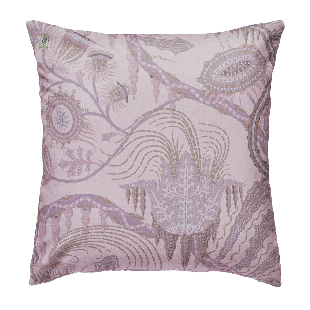 Ice Palace pink velvet cushion