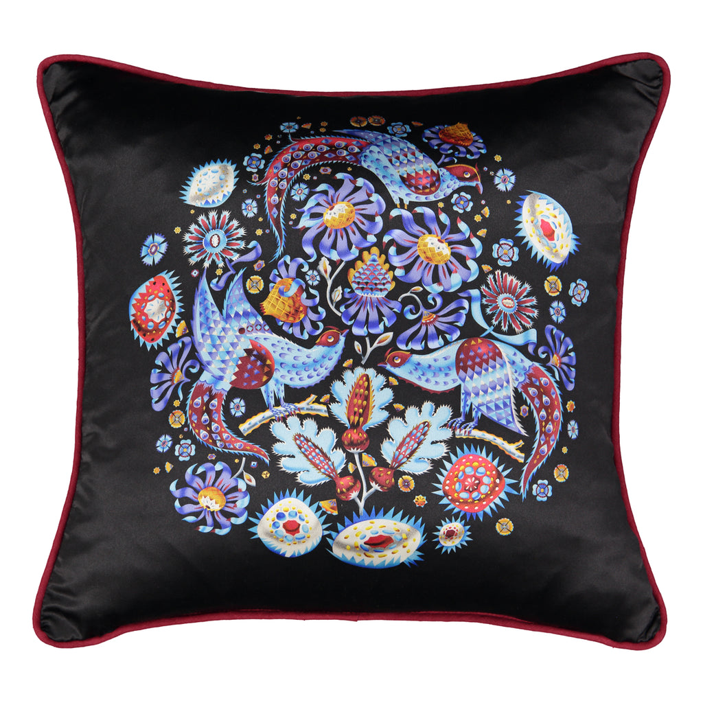 Cuckoo silk cushion