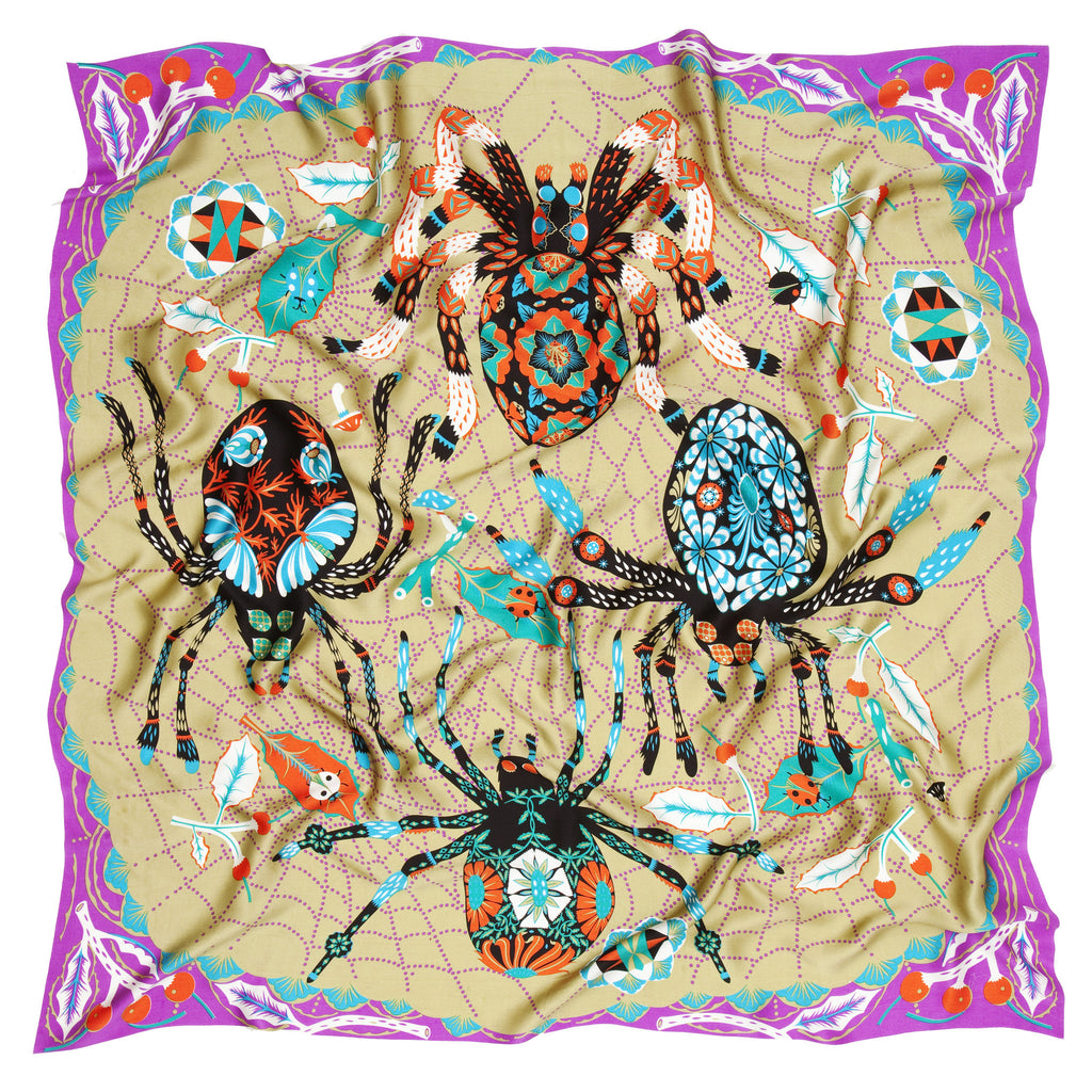 Golden Spider silk satin scarf