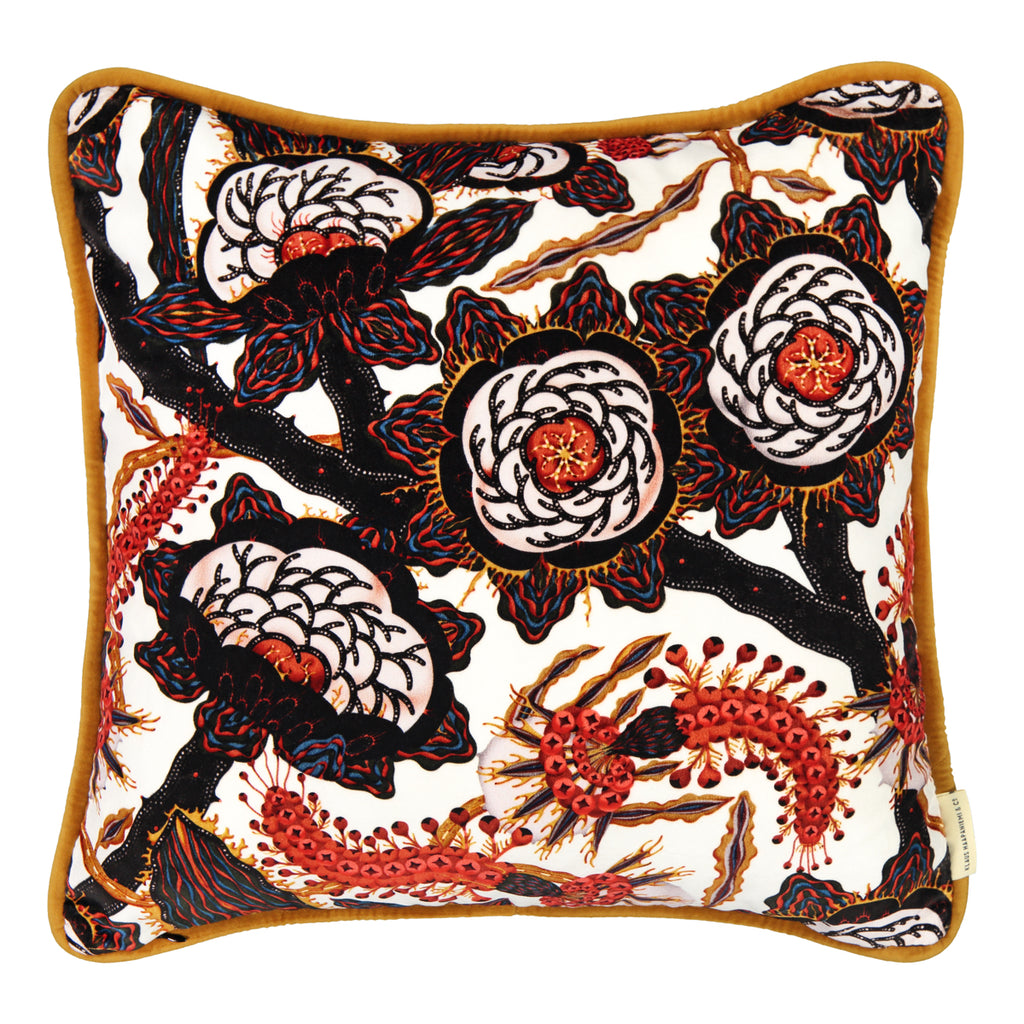 Psychotria Elata white velvet cushion