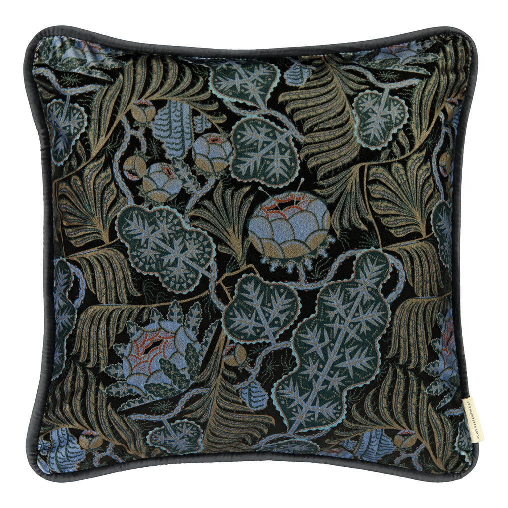 Iceflower Moss Green velvet cushion