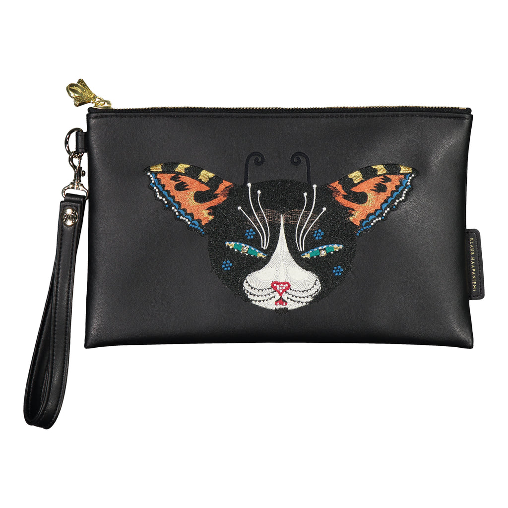 Butterfly Cat vegan leather clutch bag