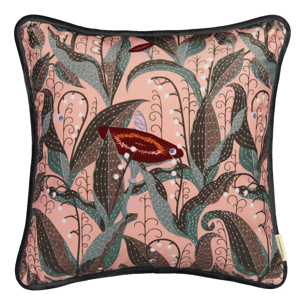Lily of the Valley Mauve velvet cushion