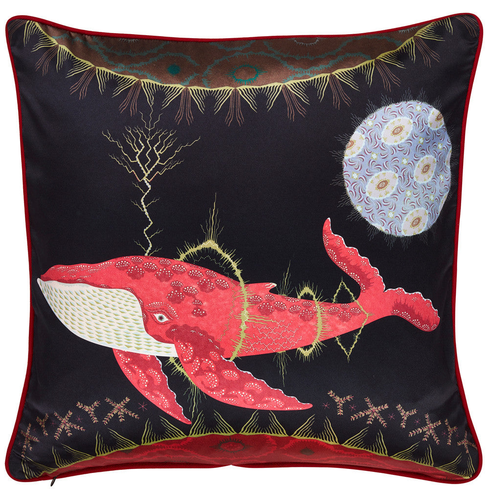 Cosmic Whale cushion with Lilac Planet