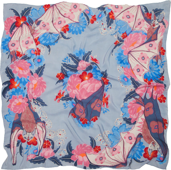 Bat and Flowers silk crepe scarf