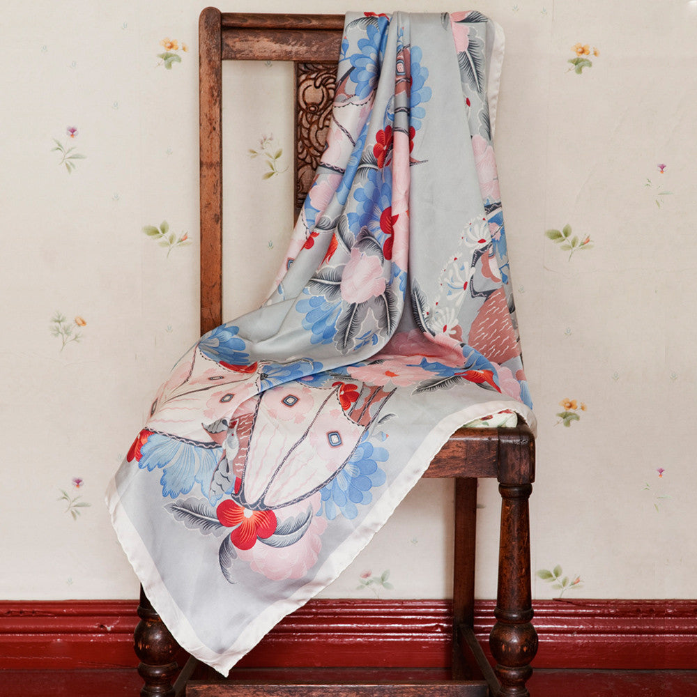 Bat and Flowers silk satin scarf