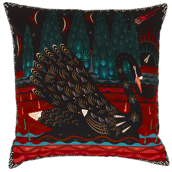 Black Swan velvet cushion