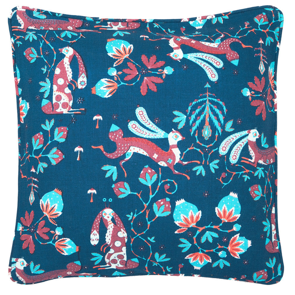 Small Rabbit cushion in Blue