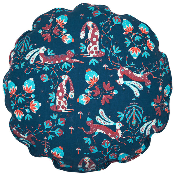 Snow Rabbit Round Blue cushion