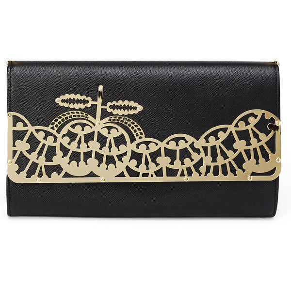 Brass and leather clutch bag
