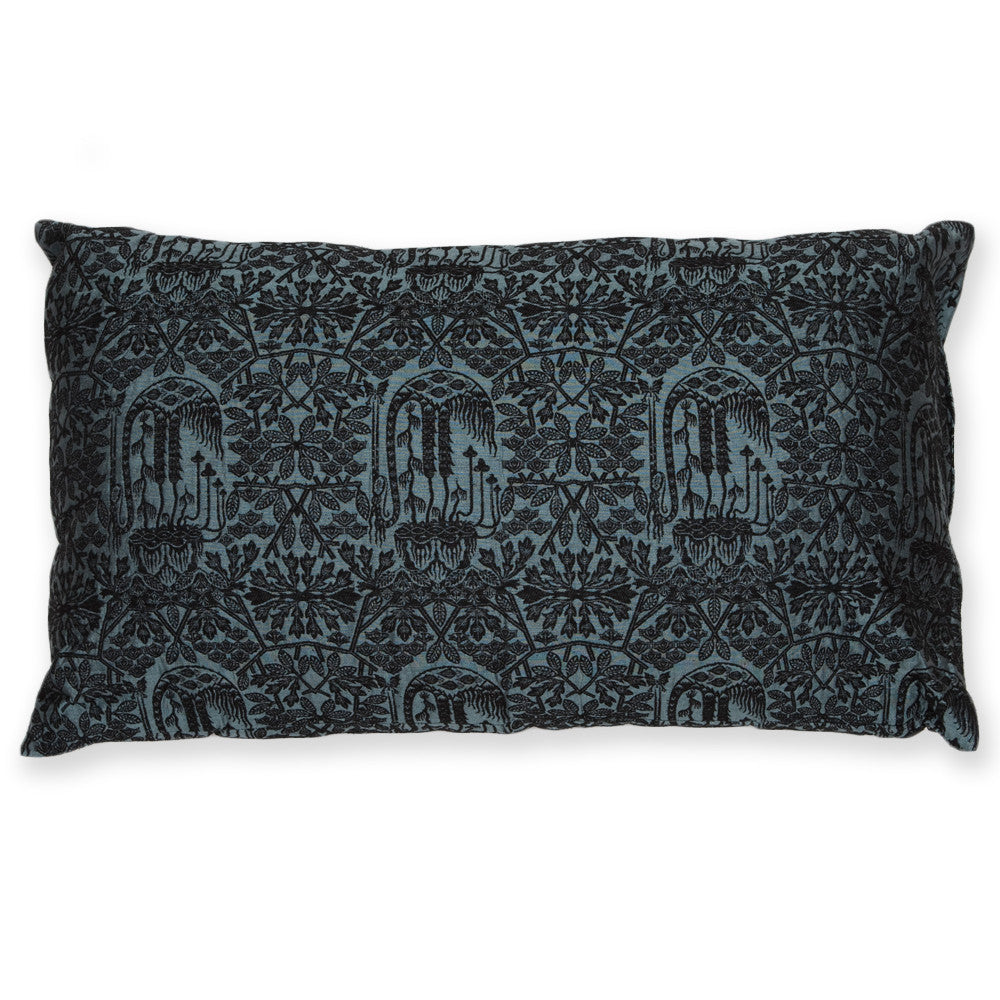 Silk Brocade Forest Light Blue Pillow