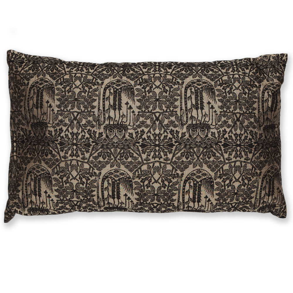 Silk Brocade Forest Gold & Black Pillow