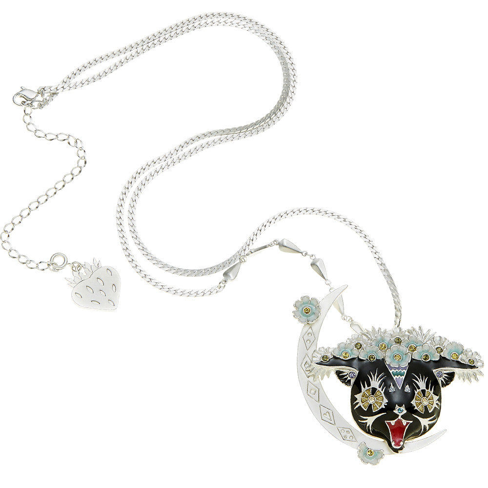 Cat and Moon enamel brooch necklace