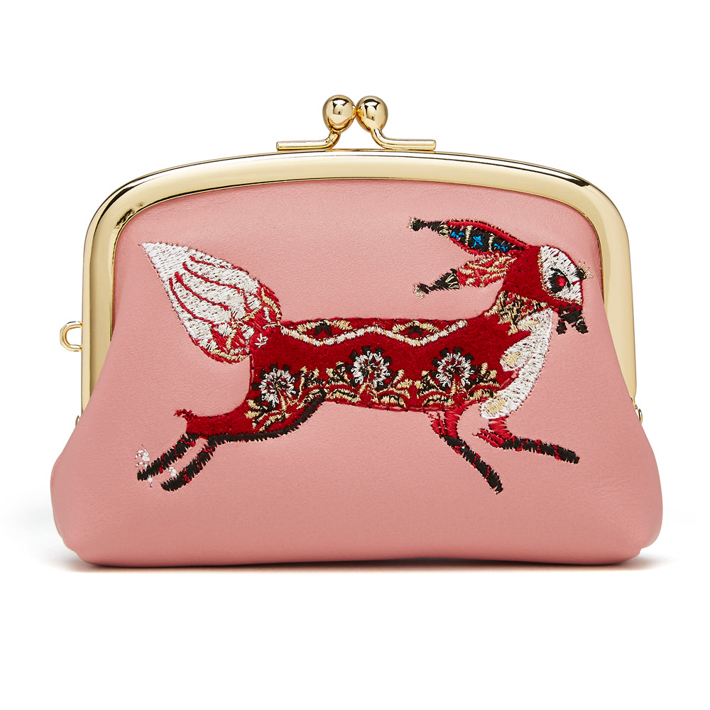 Coin purse Running Fox Pink