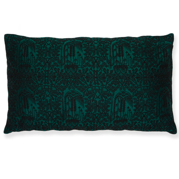 Silk Brocade Forest Green Pillow