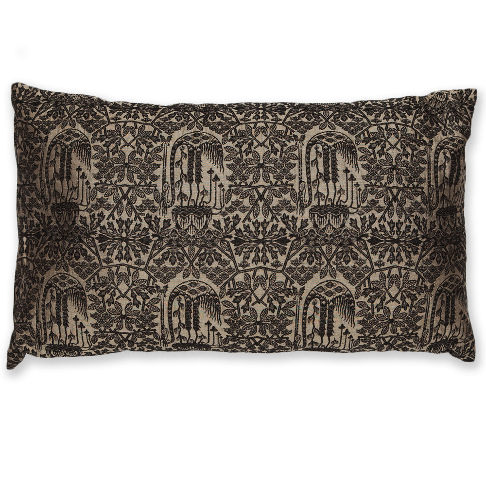 Silk Brocade Forest Black and Gold Pillow