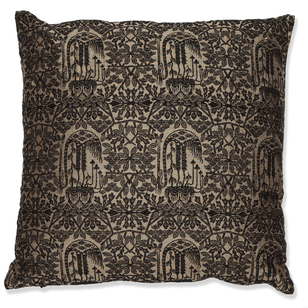 Silk Brocade Forest Black and Gold cushion