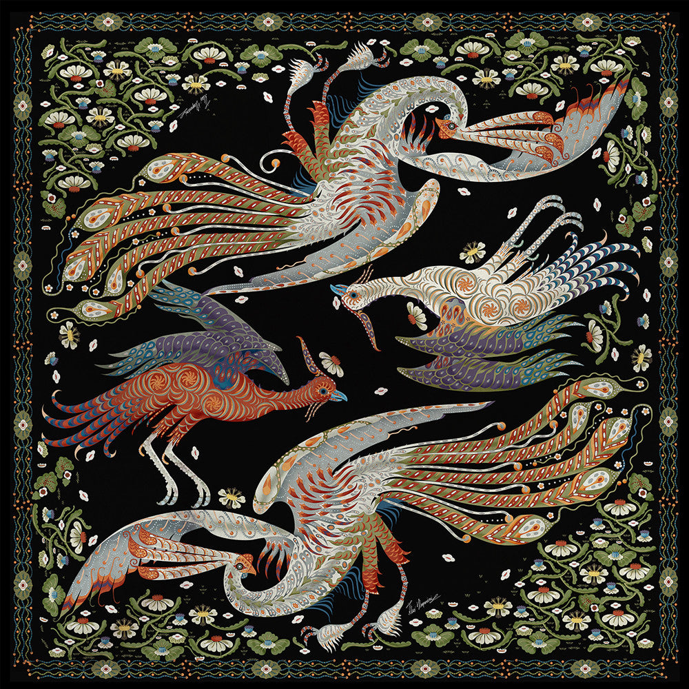 Firebird Black silk scarf