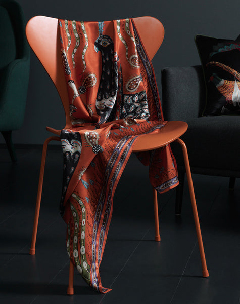 Firebird Orange silk scarf