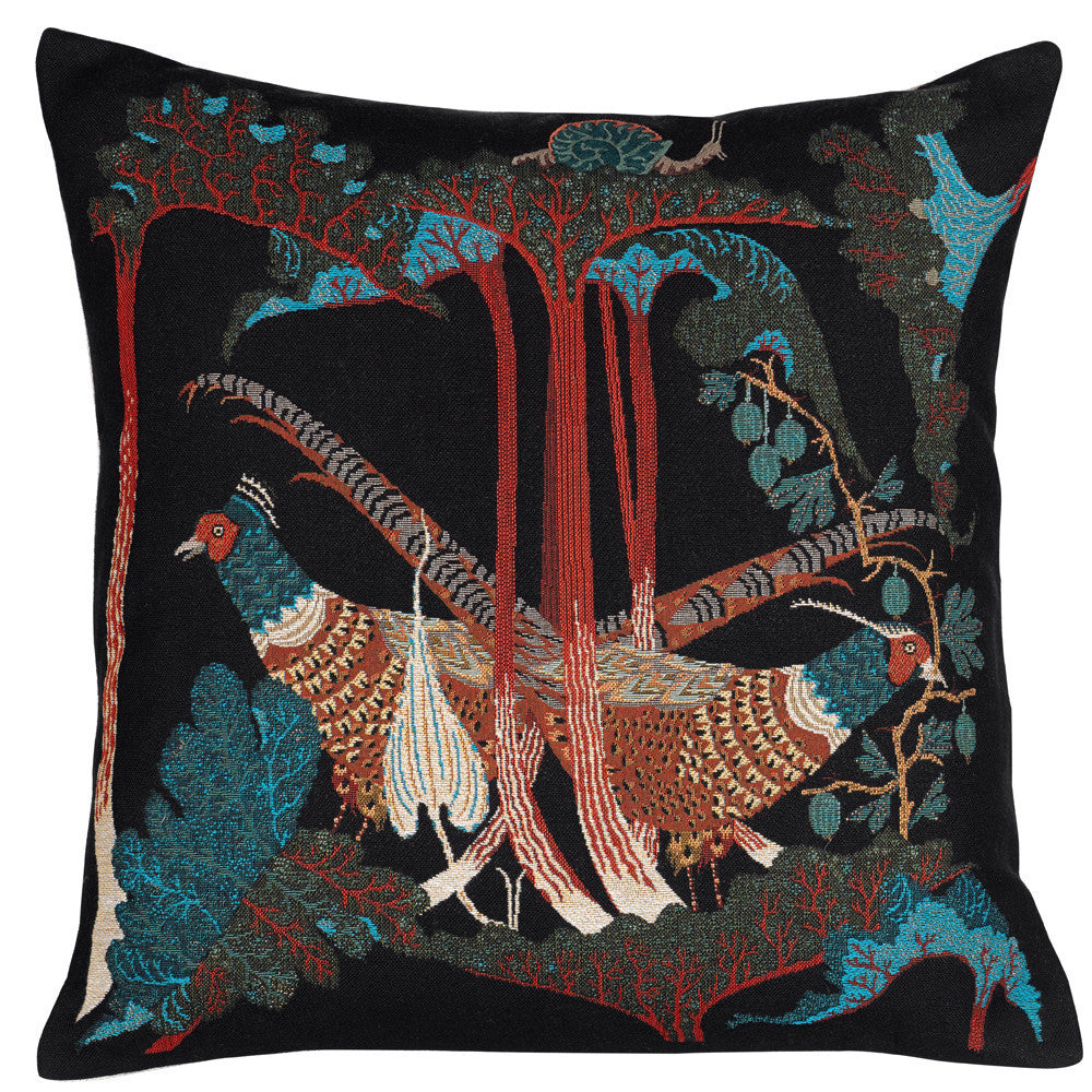 Pheasants & Rhubarbs tapestry cushion