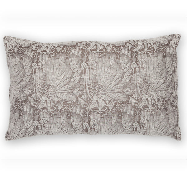 Silk Brocade Swan Grey Pillow