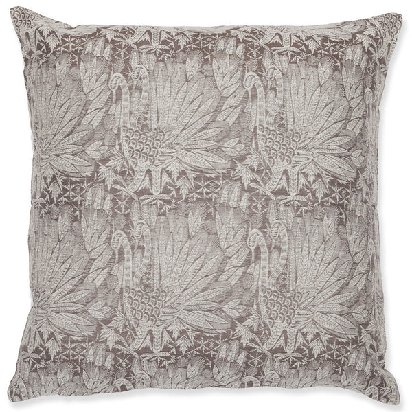 Silk Brocade Swan Grey & White cushion
