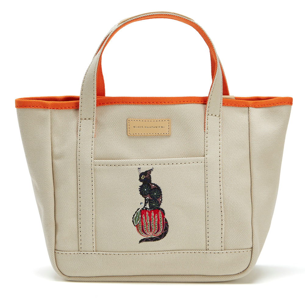 Canvas tote Apple Cat Beige