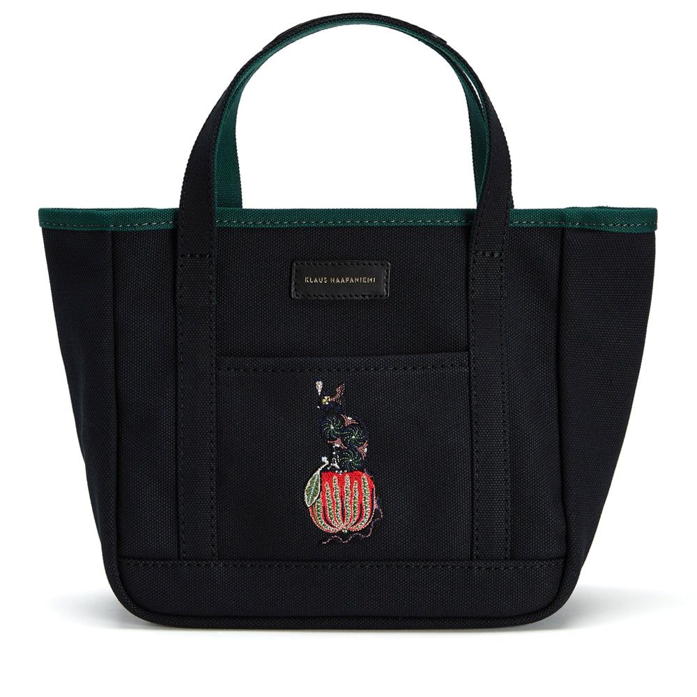 Canvas tote Apple Cat Black