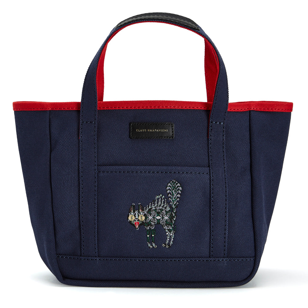 Canvas tote Scary Cat Blue