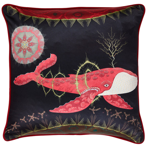 Cosmic Whale cushion with red planet