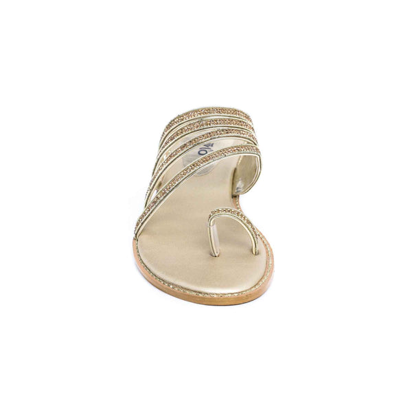 Stylo-Golden Color Fancy Chappal FN0111