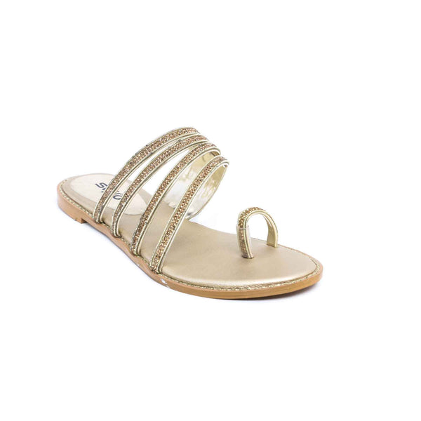 Buy Golden Color Fancy Chappal FN0111 at Shapago