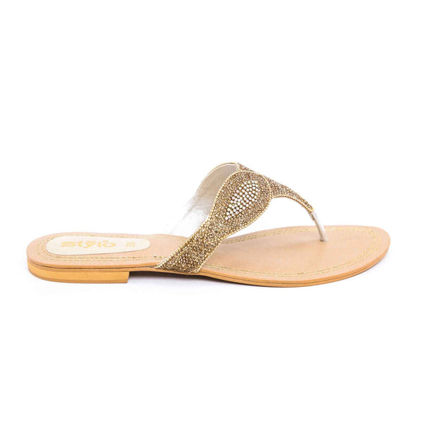 Stylo-Golden Color Fancy Chappal FN0134