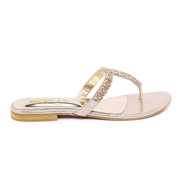 Stylo-Golden Color Fancy Chappal FN0144