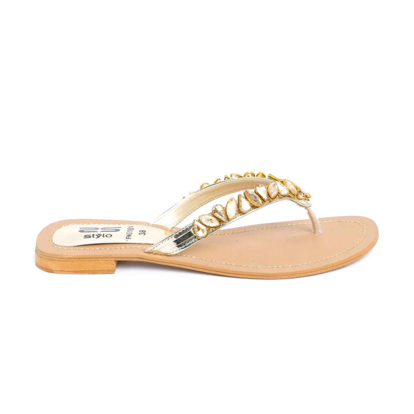 Stylo-Golden Color Fancy Chappal FN0181