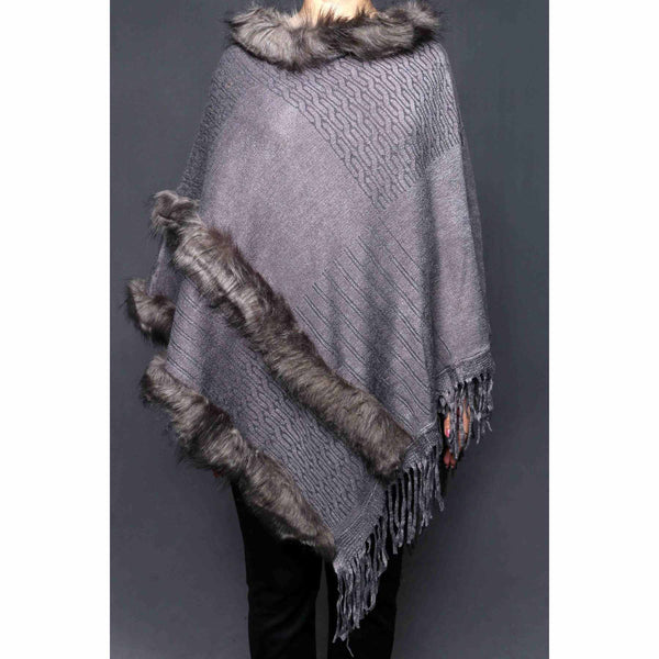 Buy Grey Color Uppers Cape Shawl PW0022 at Shapago