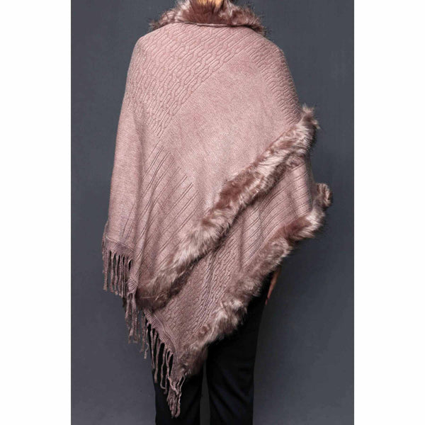 Stylo-Khaki Color Uppers Cape Shawl PW0022
