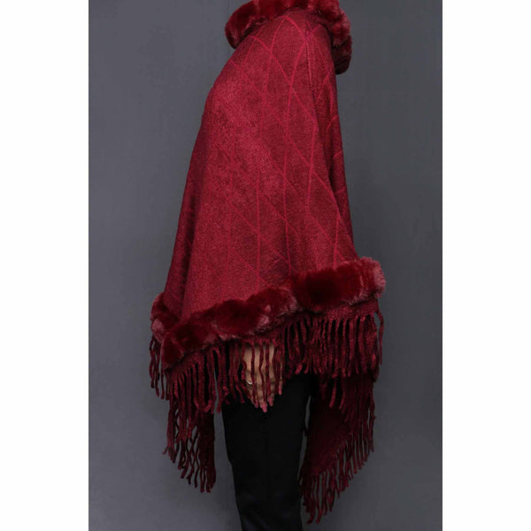 Stylo-Maroon Color Uppers Cape Shawl PW0023