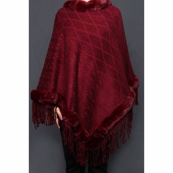 Buy Maroon Color Uppers Cape Shawl PW0023 at Shapago